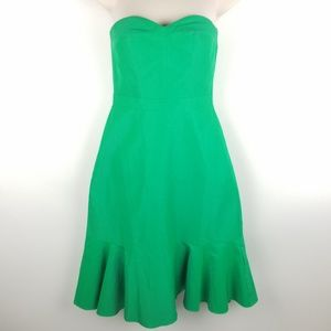 J Crew Strapless Party Dress Size 0 Kelly Green